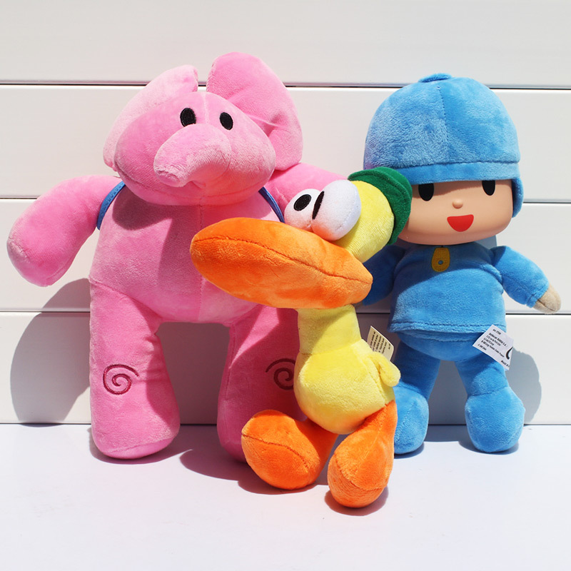 3pcs/set Pocoyo Elly Pato Duck Elephant Stuffed Animals Plush Toys Soft Dolls For Kids 23-30cm Free Shipping