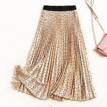 Summer 2019 Polka Dot Print Skirts Vintage A Line Women Skirt Harajuku Casual Pleated Midi Khaki Winter Autumn Clothes
