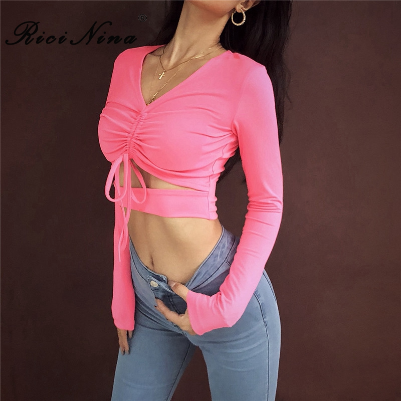 RICININA New Summer T Shirt Woman V Neck Long Sleeve Bow Bandage Short T Shirt Ladies Spring Casual Streetwear Club Tops Tshirts in T Shirts from Women 39 s Clothing