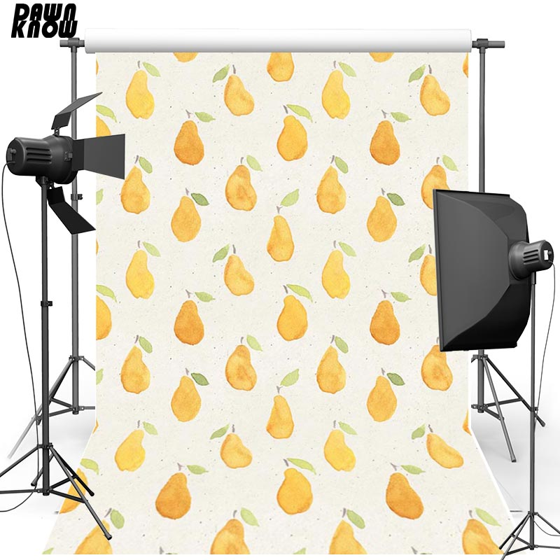 DAWNKNOW Vinyl Photography Backdrops Cartoon Drawing Fruit New Fabric Flannel Photo Background For Children Photo Studio lv104
