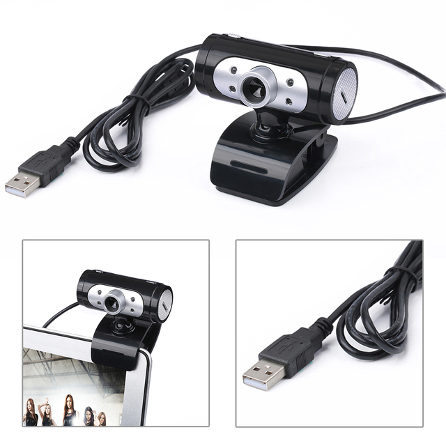 High Definition 1280*720 720p 4 LED Light HD Webcams Web Cam Camera with Night Lights for Computer Built-in Digital Microphone 1