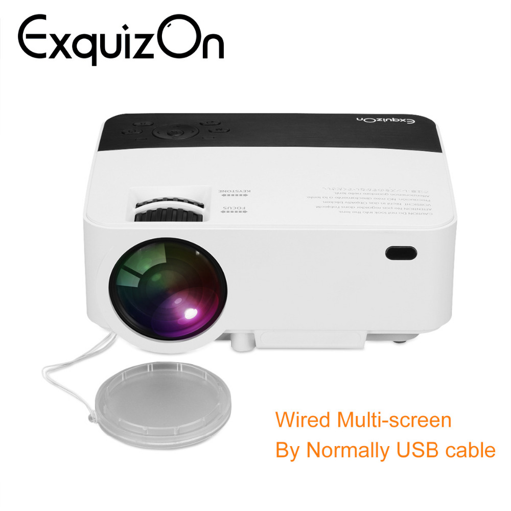 Exquizon T5 HD 1080P projector 1920*1080 Resolution Multi-screen Interaction For Phone Home Cinema 1800 lumen LCD Projector HDMI image