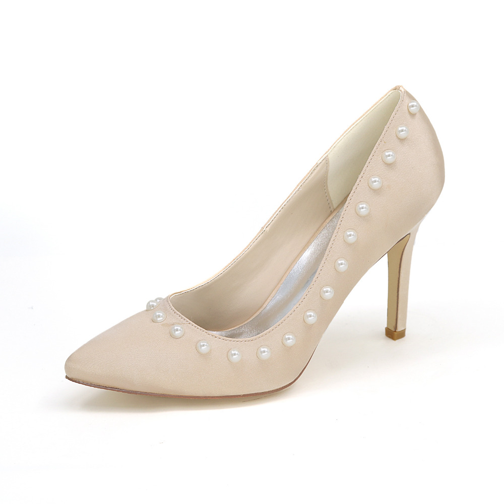 ФОТО Pointed toe pearls around high heels evening satin dress for party cocktail homecoming or any occasion red silver grey ivory