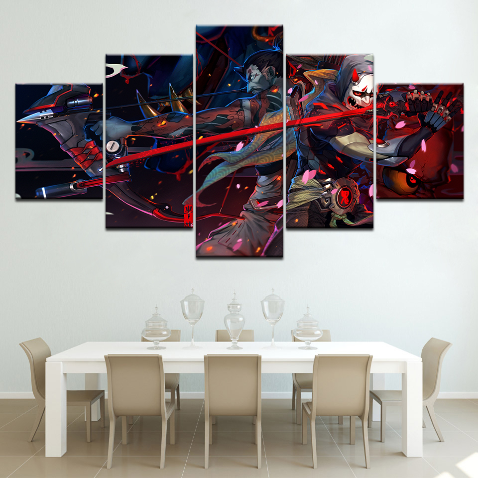 Canvas Printed Wall Art 5 Panel Watch pioneer Genji And Hanzo Pictures Home Decor bedroom Game Modular Poster Artwork in Painting Calligraphy from Home Garden