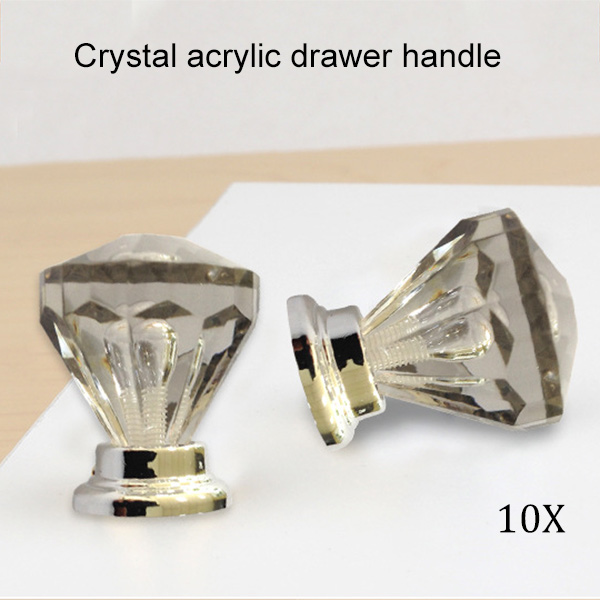 10 PCS 29mm Crystal Glass Clear Cupboard Door Drawer Knobs Diamond Shape Cabinet CLH@8 css clear crystal glass cabinet drawer door knobs handles 30mm