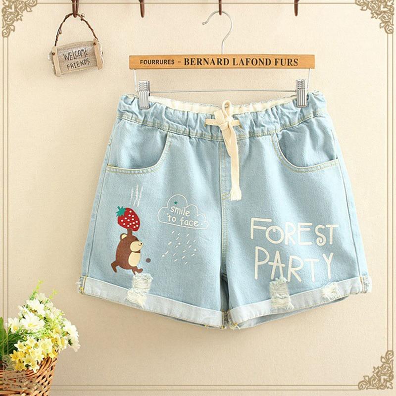 2018 Summer Mori Girl   Shorts   Women Drawstring Waist Sweet Cartoon Animal Female Pocket Jeans Denim Tracksuit Mini   Shorts   U173