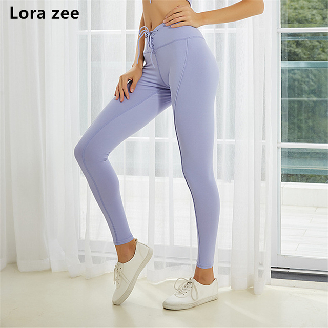 8e559b6c00b7c Women's Mid Waist Lace-up Sport Leggings Sexy V design Workout Fitness Pants  Comfy Gym