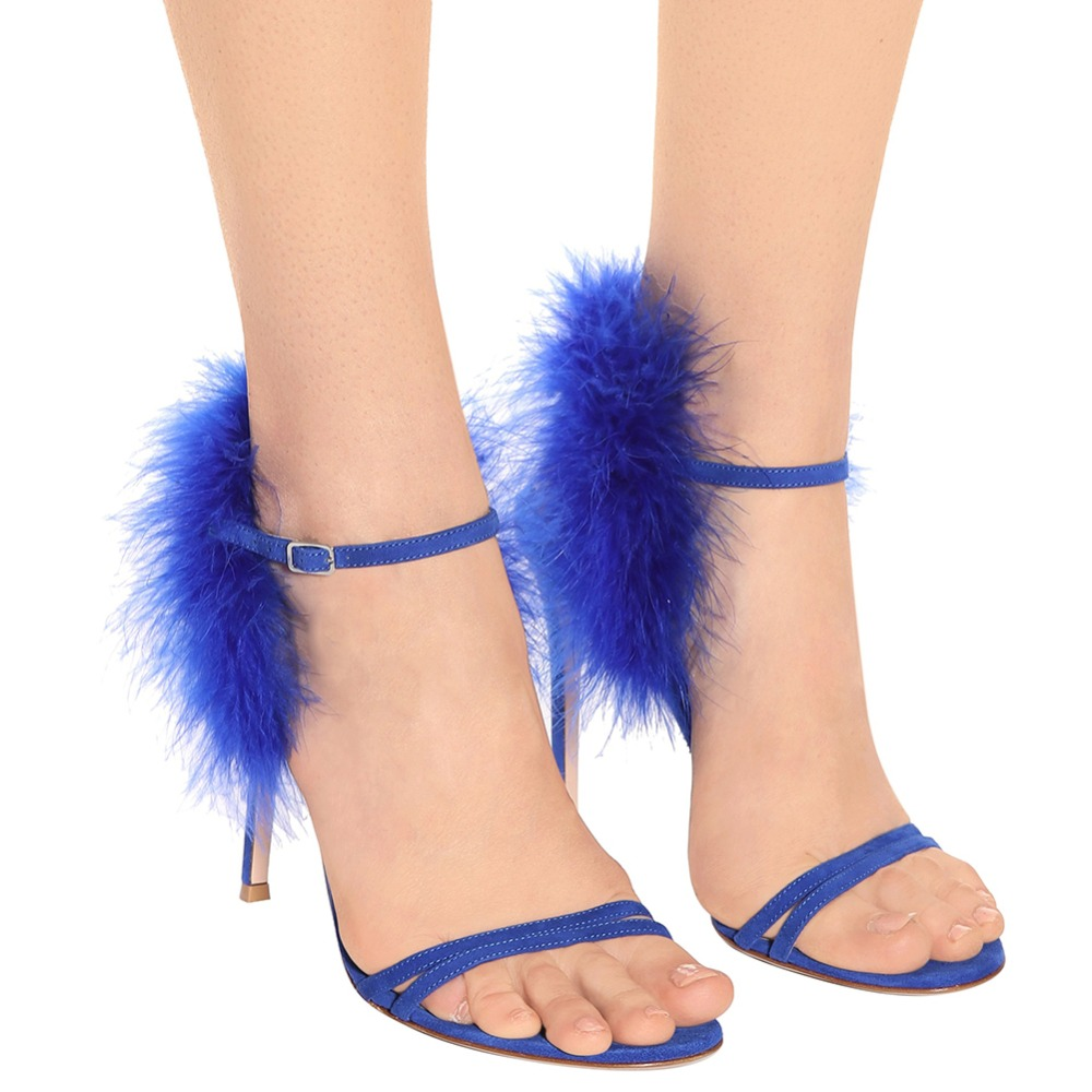 Women Open Toe High Heel Gorgeous Sandal Blue Fur Strappy Heels Sexy Black Evening Dress Shoes Ladies Summer Party Shoes 2018 in High Heels from Shoes