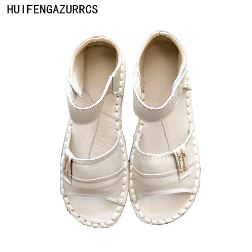 HUIFENGAZURRCS Genuine Leather Sandals pure handmade shoes the retro art mori girl Flats shoes fashion Casual