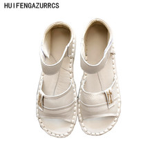 HUIFENGAZURRCS-Genuine Leather Sandals,pure handmade shoes,the retro art mori girl Flats shoes,fashion Casual shoes,3 colors