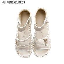 Nuovo 2016, sandali di cuoio genuini, scarpe bianche fatte a mano, le scarpe di arte mori ragazza retrò, scarpe casual moda, 3 colori
