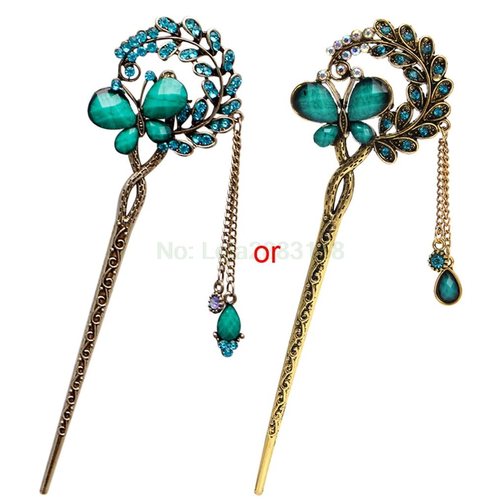 Women Elegant Charm Blue Crystal Bobby Pin Fashion Hairpin Rhinestone Hair Stick
