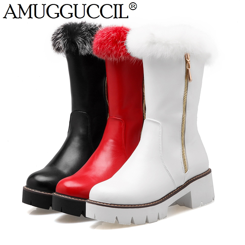 2016 New Plus Big Size 33 43 Black White Red Zip Fashion Platform Warm Rabbit Fur