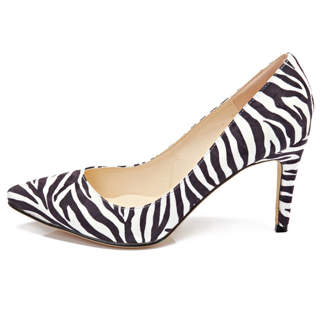 c327465c1 Women Patent Leather Shoes Mid High Heels Shoes Zebra pattern Pointed Toe  Shoes Pointed Toe Corset Work Pumps Court