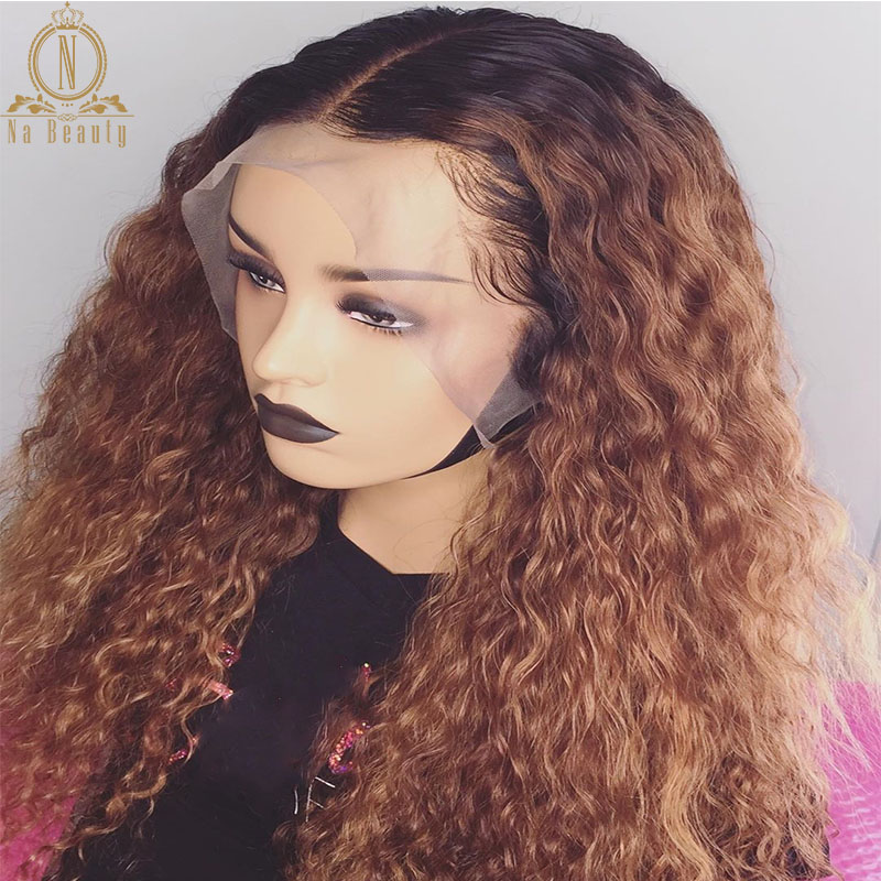 1B/27 Honey Blonde 13x6 Deep Part Curly Ombre Human Hair Colored Wig Preplucked For Women Lace Front Huamn Hair Wig
