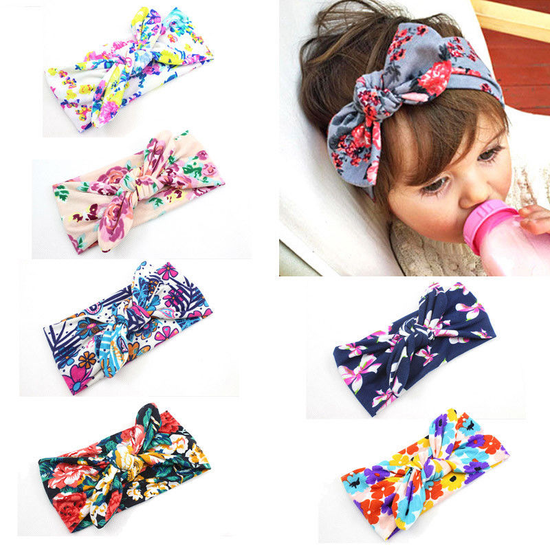 Toddler Headband Ribbon Girl Bow Boho Elastic Baby Colorful Newborn Kids Knot title=