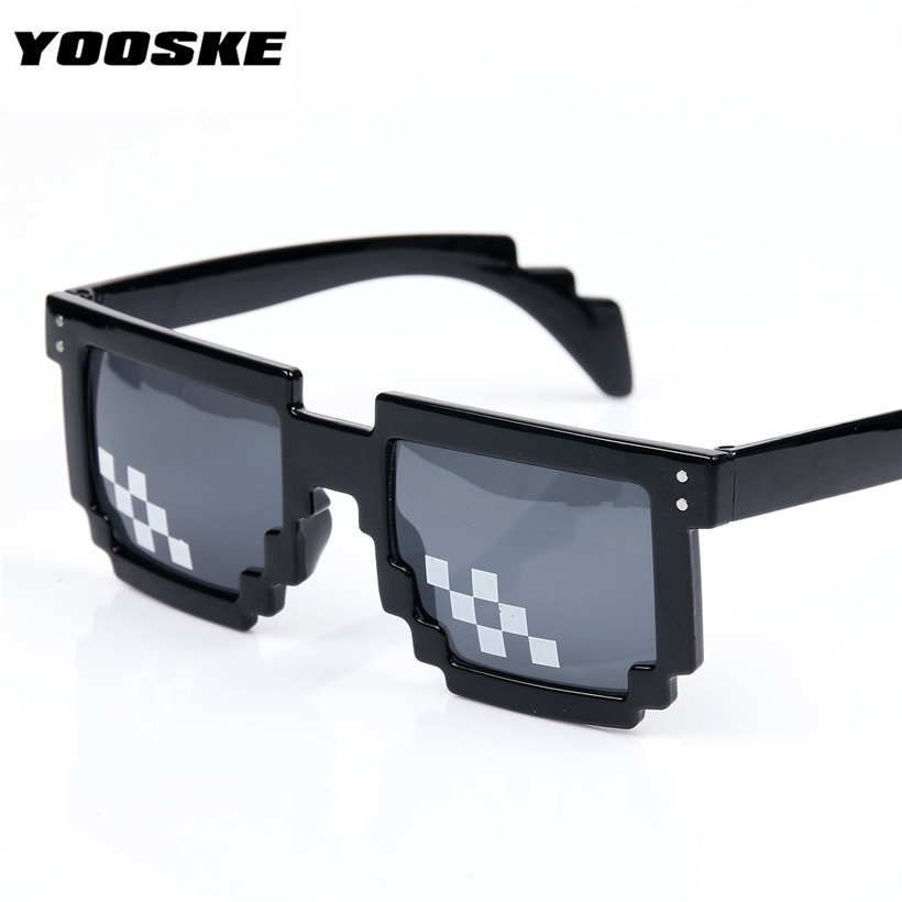 YOOSKE Deal With It Glasses 8 bit Mosaic Pixel Sunglasses Men Women Party Eyewear Dealwithit thug life Popular Around the World