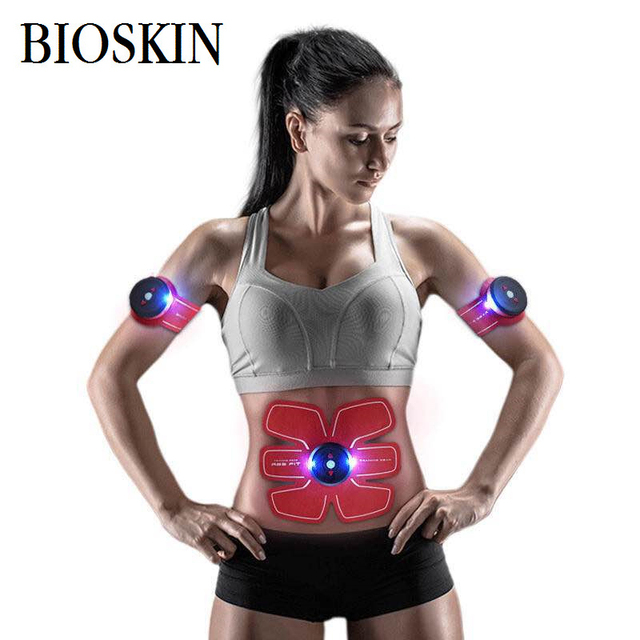 BIOSKIN Absorb Fat Fitness Shock Stickers 1 Set Chargeable Wireless Electrical Muscle Stimulator Training Fitness Massager