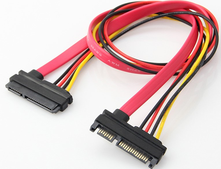 SATA 22-pin (7+15) Male to Female Data and Power Combo Extension Cable 50cm
