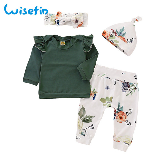 02193b71118 Wisefin Baby Girl Clothes Set Autumn Newborn Infant Clothing Set Toddler  Tops+Leggings Pants+Headband+Hat Floral Baby Outfit Set