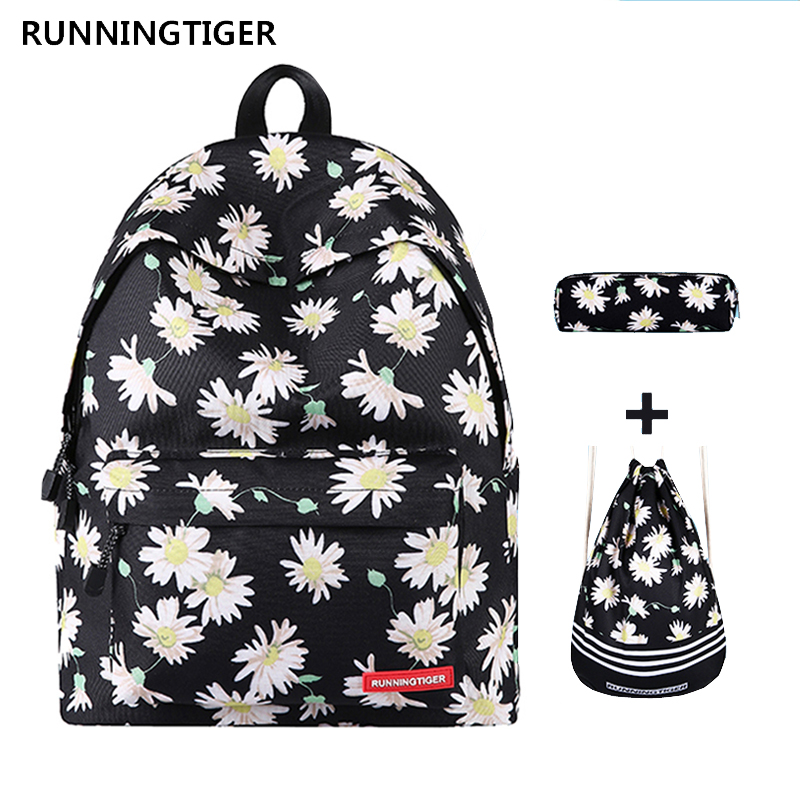 Women Backpack 3pcs Sets Mochila Feminine School Bags for Teenagers Printing Backpack With Drawstring Bags and Pencil Case 2018 2018 bendy and the ink machine backpack for children school bags cartoon game printing book backpack daily school backpack