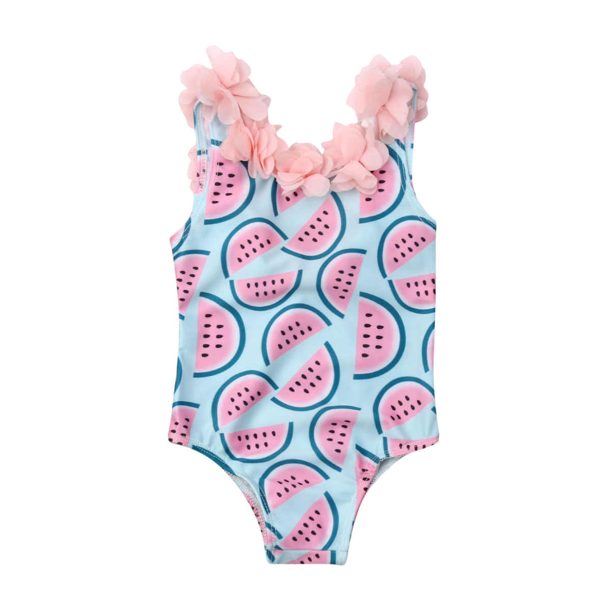 Ambabe Toddler Infant Baby Girl One-Piece Swimsuit Fly Sleeve Leopard Printed Swimwear Summer Beach Bathing Suit