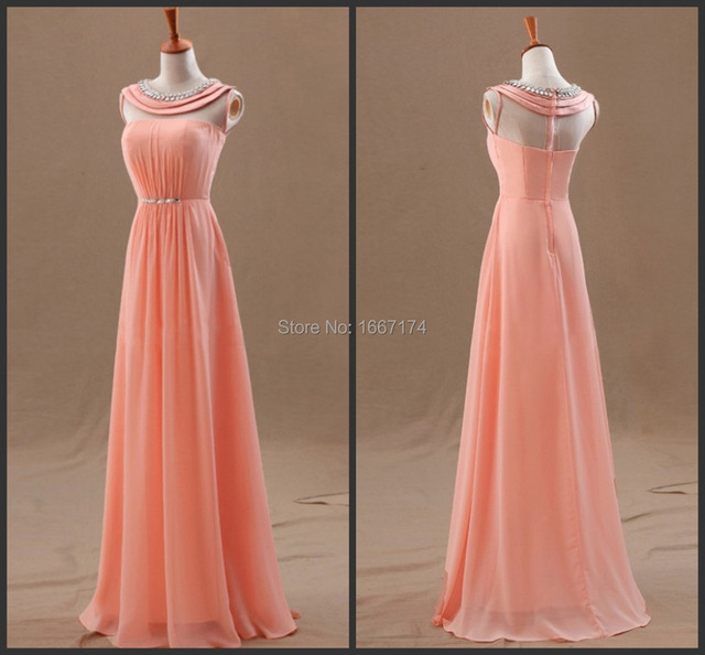 New Elegant Beaded High Neck Coral Color See Through Back Peach ...