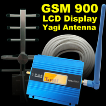 LCD Display GSM 900Mhz Mobile Phone Signal Booster Smart GSM 900 Signal Repeater Cellphone Cellular Amplifier +Yagi Antenna Set