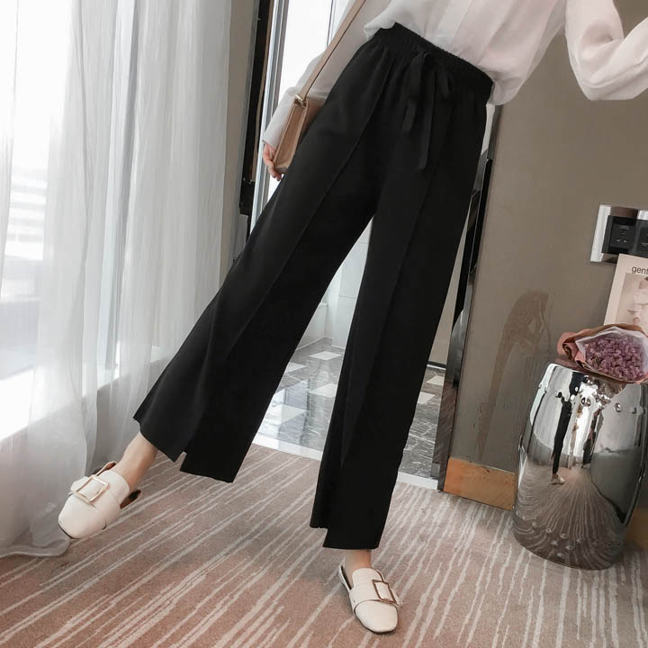 Wide Leg Pants Women 2019 Spring New Hot Fashion Casual High-waisted Loose Female Casual Calf-length Bottoms Trousers