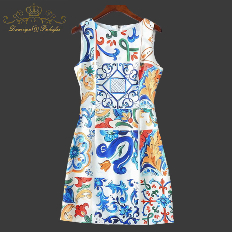 Luxury Dress New 2018 Summer Girl Dress Fashion Designer New Elegant Flower Print Slim Women Vintage Short Dress Family Clothes брызговики передние novline autofamily fiat doblo 2014