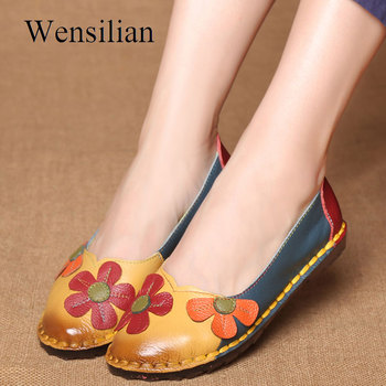 Summer Flat Shoes Women Genuine Leather Shoes Ballet Flats Soft Slip On Loafers Flower Ladies Moccasins Retro Cute Zapatos Mujer