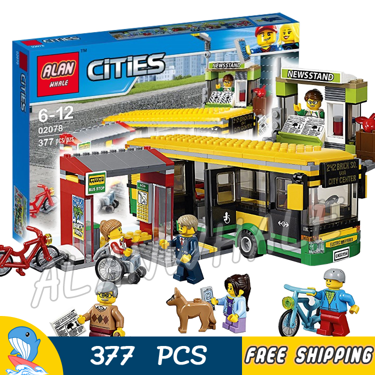 377 Pcs New City Città Stazione Degli Autobus Veicoli Passeggeri Bus 02078 Blocchi Di Costruzione Di Modello Di Giocattoli Per Bambini Mattoni Hobby Compatibile Con Lego Bianco Puro E Traslucido