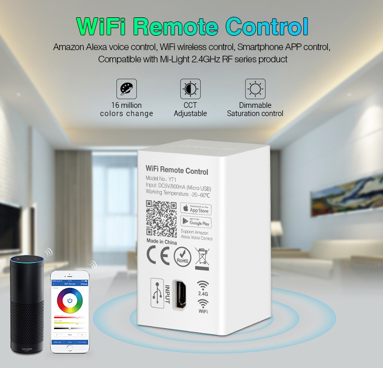 Milight YT1 WiFi Remote compatible with 2.4GHz RF Series Product Smartphone App WiFi Wireless Control DC5V/500mA(Micro USB)