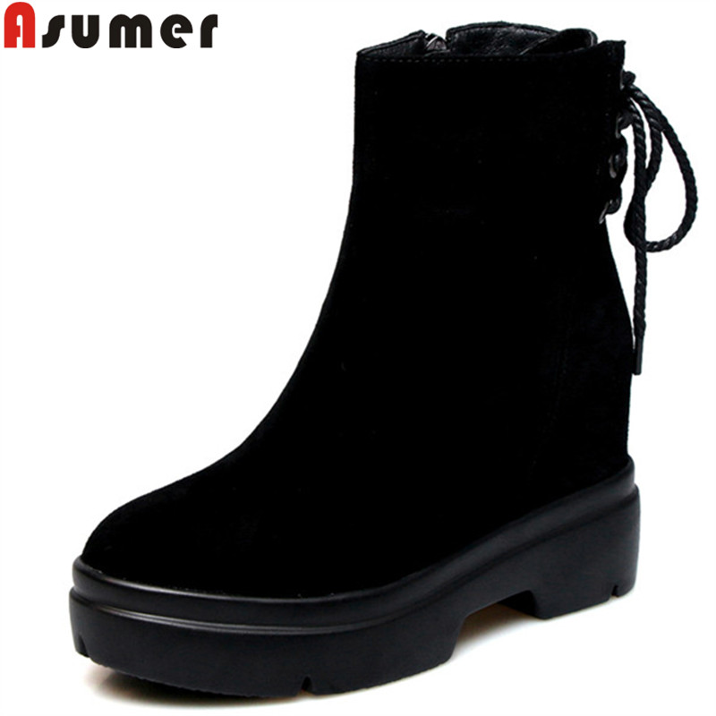 ASUMER 2018 hot sale new ankle boots for women round toe zip suede leather boots platform autumn winter boots ladies shoes asumer 2017 hot sale round toe square high heels women ankle boots restoring flock leather platform boots autumn winter shoes