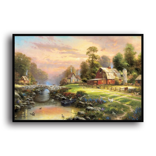 H1207 Thomas Kinkade Sunset At Riverbend Farm, HD Canvas Print Home  Decoration Living Room Bedroom