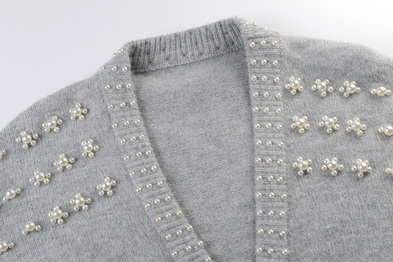 Chandail 2018 Gris Automne Perles Jumper Whitney Mode Cardigan Femmes Streetwear Hiver Chandails Main Wang De 5qxfwv6