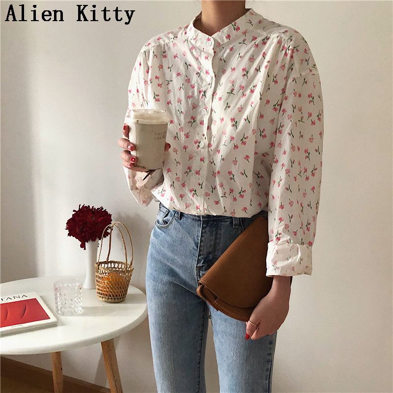 Alien Kitty 2019 New Print Floral Stand Fresh Elegant Casual Single Breasted Summer All Match Loose Simple Stylish Free Shirts