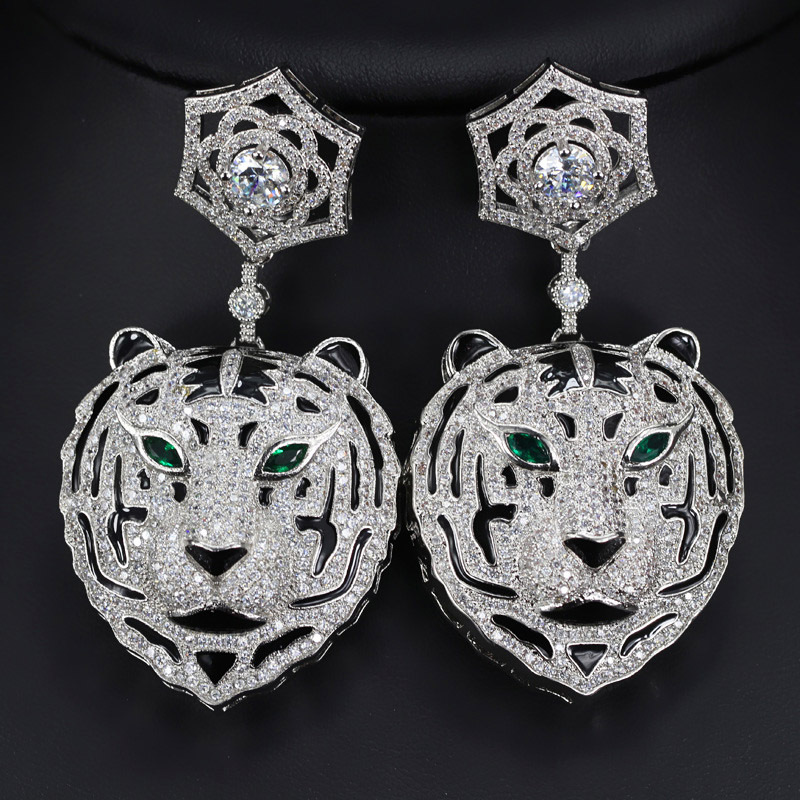All Shine Zricon Tigers Face Pendant Drop Earrings For Women With Green Stone Noble Female Earrings Fashion Jewelry 2016 Earing
