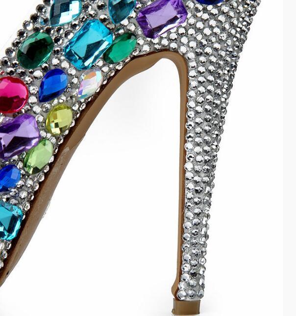Rond De Slip Cm 14cm Hauts Dames Strass 2019 Bleu Talons Mariée Chaussures Bout Plates Pompes formes 14 Mariage 16cm Cristaux Femmes Sexy on nqqFZxS