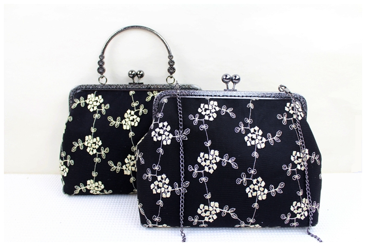 20cm Black Lace Fabric Mouth Purse Gold Frame Purse Bag Material Kit Handmade Handbags Patchwork Womens Messenger