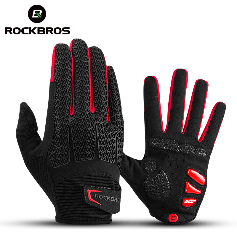 ROCKBROS Cycling Gloves Touch Screen Windproof Gloves MTB Bicycle GEL Pad Shockproof Full Finger Mittens Gloves Autumn Winter