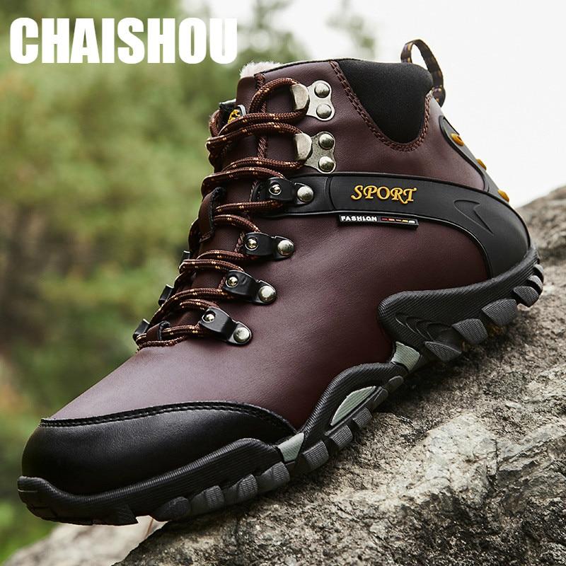 Chaussures hommes hiver garder au chaud en cuir bottes hommes cheville neige bottes imperméable chaud fourrure tactique bottes chaussures Chaussure Homme CS-214