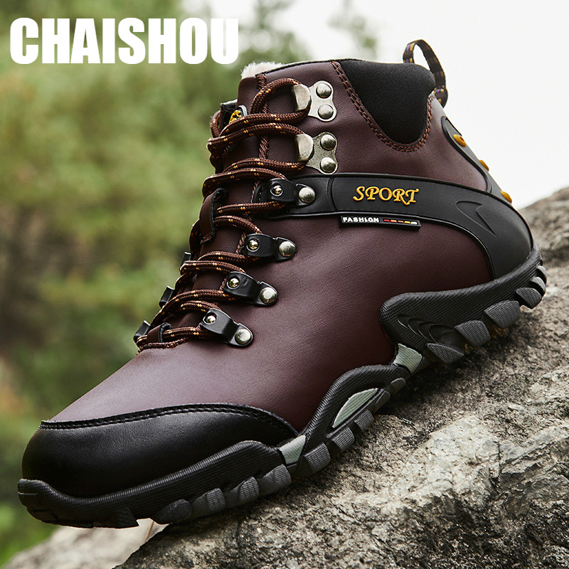 Shoes Men Winter Keep Warm Leather Boots  Male Ankle Snow Boots Waterproof Warm Fur Tactical Boot Shoes Chaussure Homme  CS-214