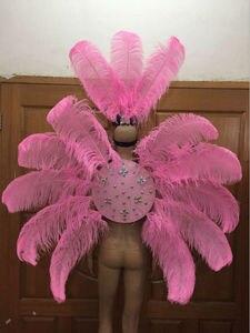 Image 2 - Vestuário de penas palco desempenho passarela carnaval headdress flor pubs festa roupas femininas