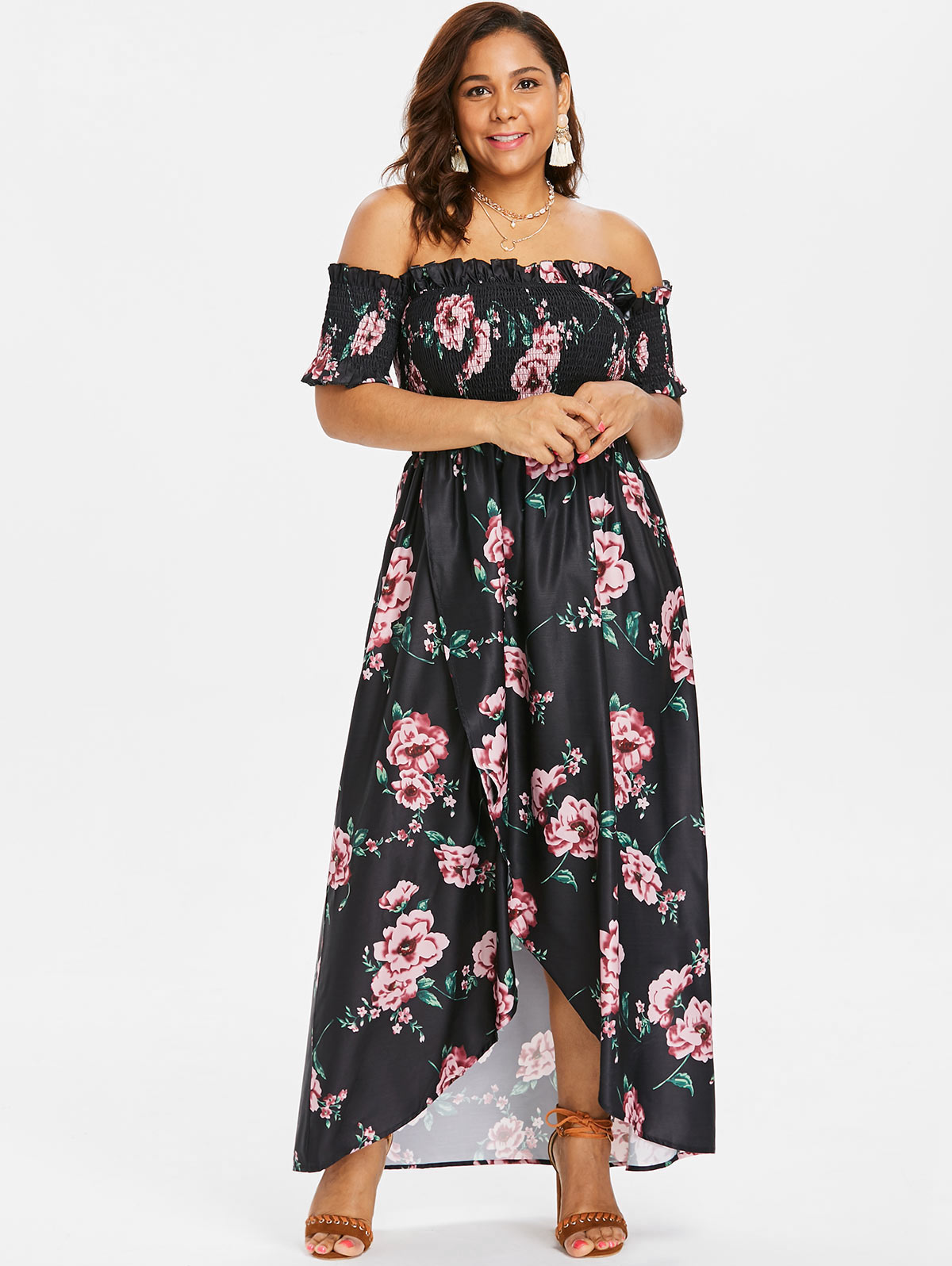 9d8808a0cd01 Silhouette: Asymmetrical Dresses Length: Floor-Length Neckline: Off The  Shoulder Sleeve Length: Short Sleeves Waist: Empire Pattern Type: Floral