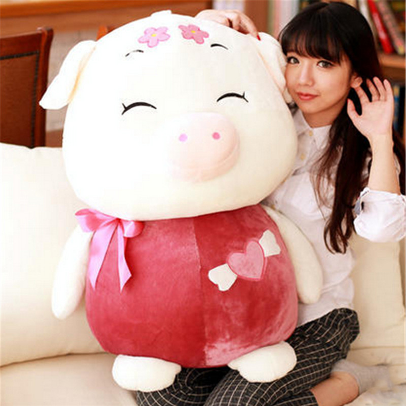 Fancytrader Giant 80cm Cartoon Pig Doll Gift Lovely Stuffed Soft Plush Giant McDull Pigs Toy 3 Colors nazsu nazsu покрывало yaprak цвет горчичный 240х260 см