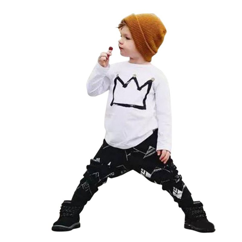 2PCS Newborn Cotton Cartoon Baby Boy Girl Clothes Set Infant Crown Long Sleeve Kid Outfits Solid Toddler T Shirt+Pants 2017 brand new 3pcs set newborn toddler infant baby girl boy clothes romper long sleeve shirt tops pants hat santa candy outfits