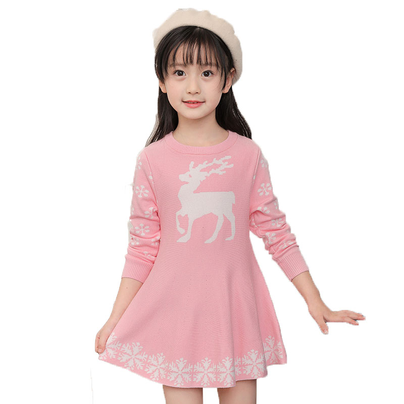 2018 Winter Kids Girl Red Pink Navy Children Fashion Knit Sweater Christmas Dresses Girls Toddler Autumn Baby Clothes Dress