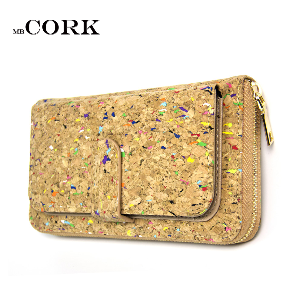 Colorful cork Natural women Wallet Bifold Multi Card Case
