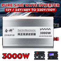 Inverter pure sine wave 1500W 3000W Peaks 12v/24v/48v to AC110v/ 220v LCD display Inverter power supply